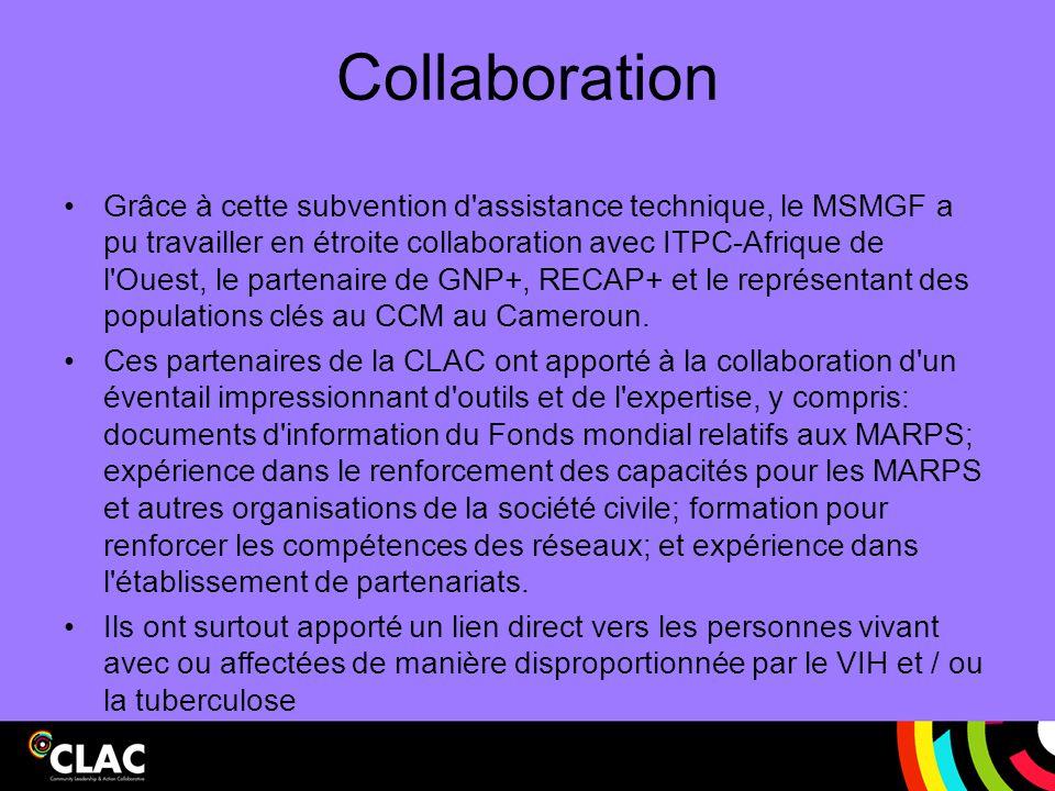 Collaboration Grâce à cette subvention d'assistance technique, le MSMGF a pu travailler en étroite collaboration avec ITPC-Afrique de l'Ouest, le part