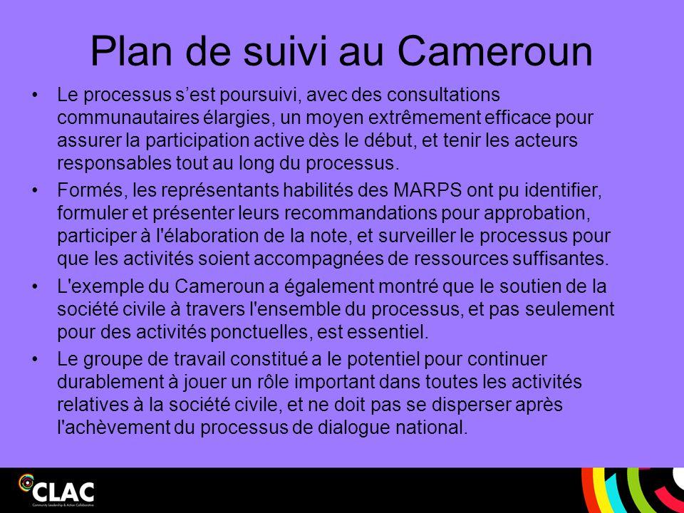 Plan de suivi au Cameroun Le processus s'est poursuivi, avec des consultations communautaires élargies, un moyen extrêmement efficace pour assurer la