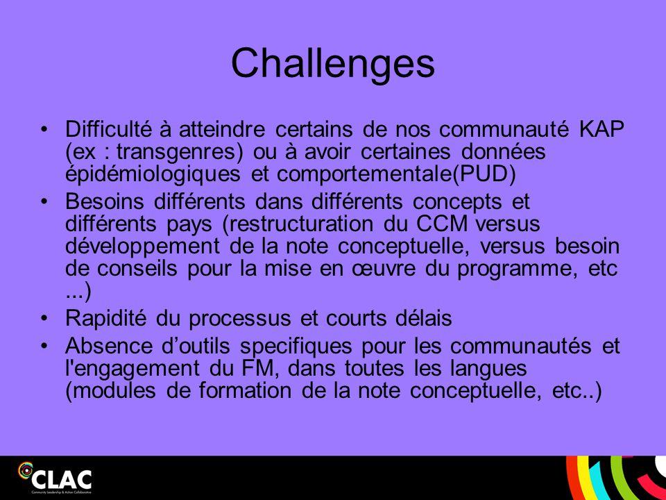 Challenges Difficulté à atteindre certains de nos communauté KAP (ex : transgenres) ou à avoir certaines données épidémiologiques et comportementale(P