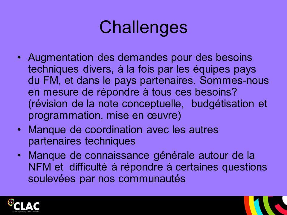Challenges Augmentation des demandes pour des besoins techniques divers, à la fois par les équipes pays du FM, et dans le pays partenaires. Sommes-nou