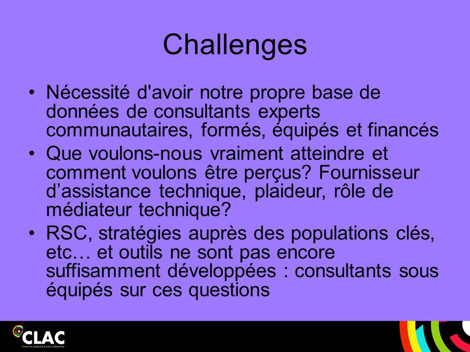 Challenges Nécessité d'avoir notre propre base de données de consultants experts communautaires, formés, équipés et financés Que voulons-nous vraiment