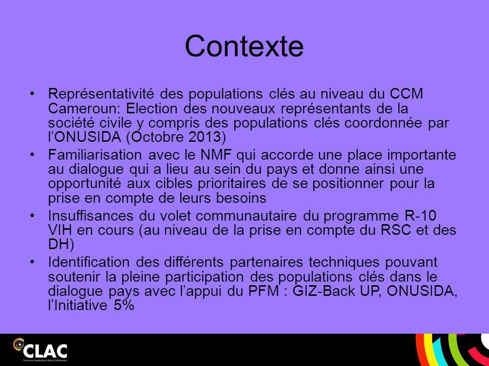 Activités parallèles Bien que les termes de référence de cette subvention d assistance technique a été spécifiquement de faire un travail au Cameroun en ligne avec la stratégie du CLAC, la CLAC a élargi cette activité pour inclure le plus large public possible.