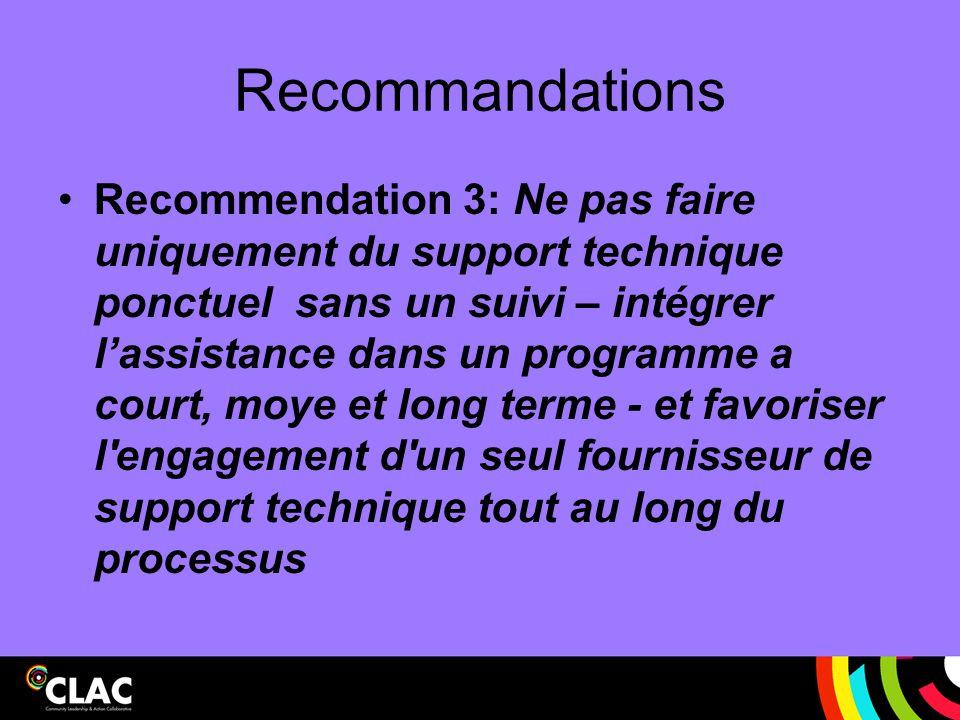 Recommandations Recommendation 3: Ne pas faire uniquement du support technique ponctuel sans un suivi – intégrer l'assistance dans un programme a cour