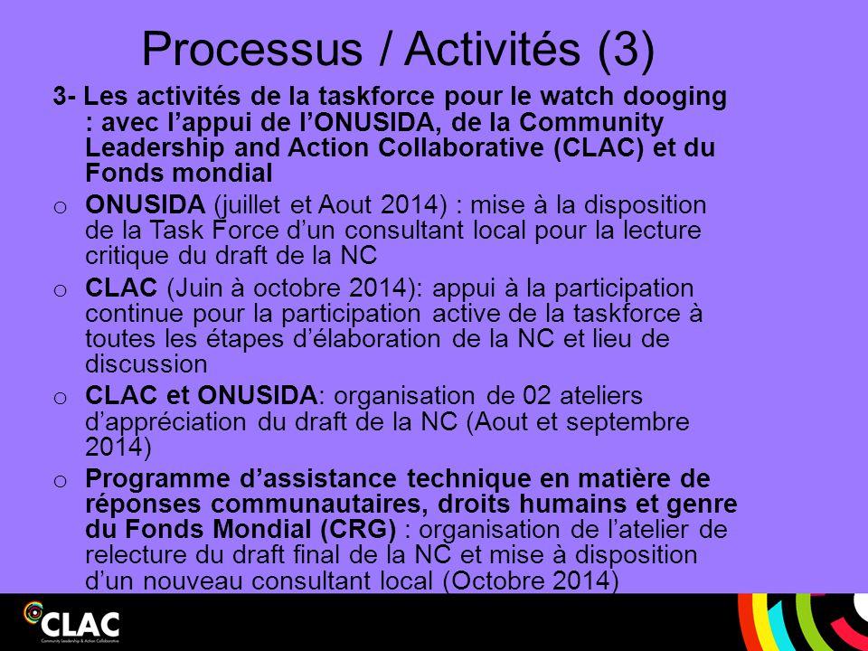 Processus / Activités (3) 3- Les activités de la taskforce pour le watch dooging : avec l'appui de l'ONUSIDA, de la Community Leadership and Action Co