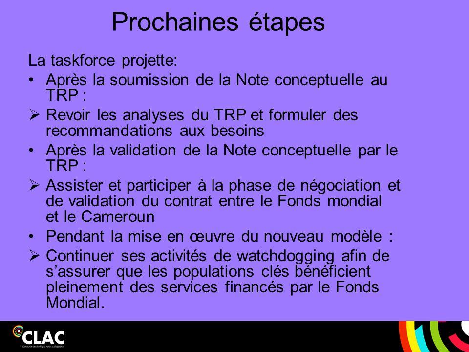 Prochaines étapes La taskforce projette: Après la soumission de la Note conceptuelle au TRP :  Revoir les analyses du TRP et formuler des recommandat