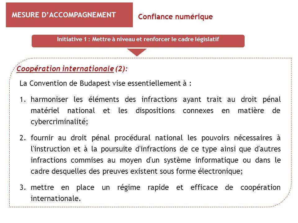 MESURE D'ACCOMPAGNEMENT Coopération internationale (2): Confiance numérique La Convention de Budapest vise essentiellement à : 1.harmoniser les élémen