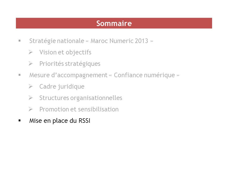  Stratégie nationale « Maroc Numeric 2013 »  Vision et objectifs  Priorités stratégiques  Mesure d'accompagnement « Confiance numérique »  Cadre