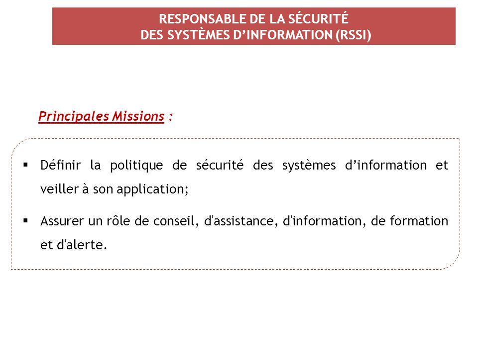 RESPONSABLE DE LA SÉCURITÉ DES SYSTÈMES D'INFORMATION (RSSI)  Définir la politique de sécurité des systèmes d'information et veiller à son applicatio