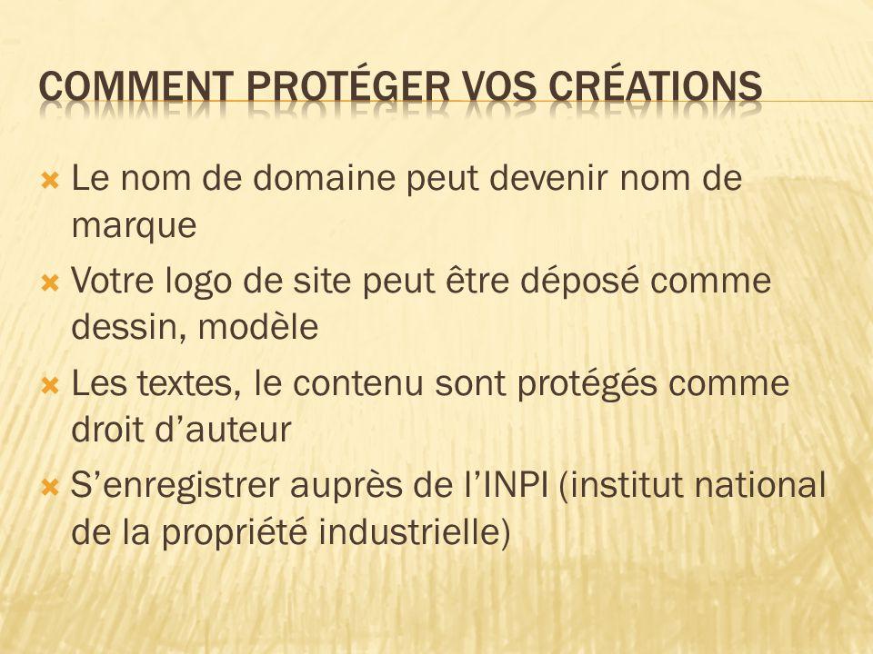  Le nom de domaine peut devenir nom de marque  Votre logo de site peut être déposé comme dessin, modèle  Les textes, le contenu sont protégés comme droit d'auteur  S'enregistrer auprès de l'INPI (institut national de la propriété industrielle)