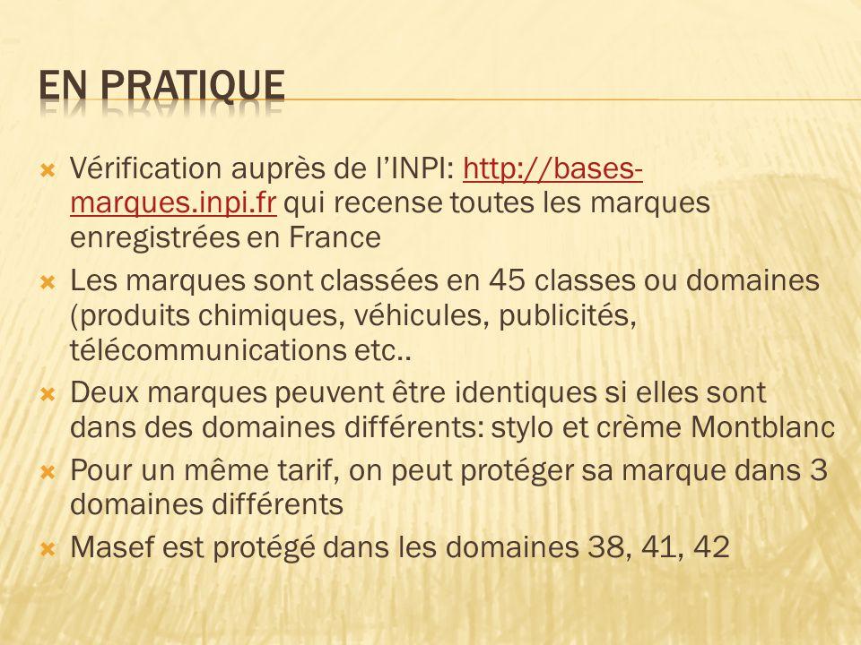  Vérification auprès de l'INPI: http://bases- marques.inpi.fr qui recense toutes les marques enregistrées en Francehttp://bases- marques.inpi.fr  Les marques sont classées en 45 classes ou domaines (produits chimiques, véhicules, publicités, télécommunications etc..
