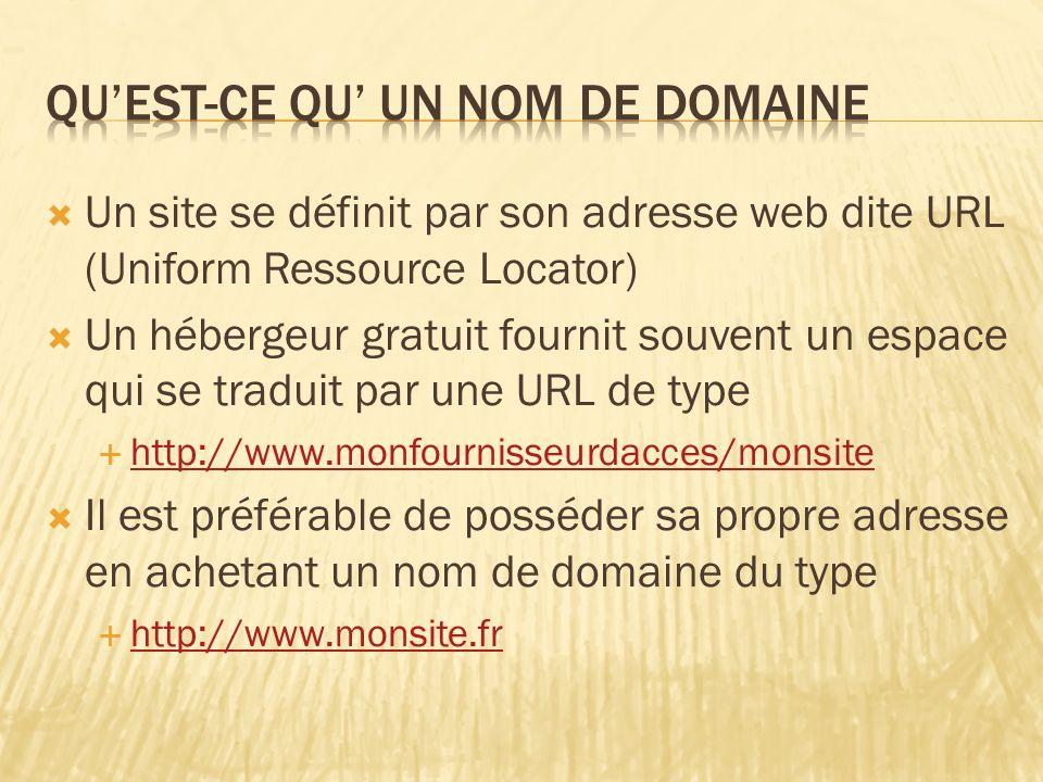  Un site se définit par son adresse web dite URL (Uniform Ressource Locator)  Un hébergeur gratuit fournit souvent un espace qui se traduit par une URL de type  http://www.monfournisseurdacces/monsite http://www.monfournisseurdacces/monsite  Il est préférable de posséder sa propre adresse en achetant un nom de domaine du type  http://www.monsite.fr http://www.monsite.fr