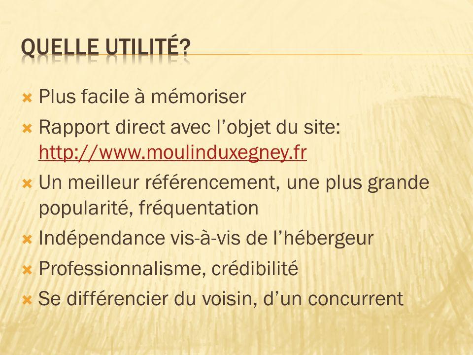  Plus facile à mémoriser  Rapport direct avec l'objet du site: http://www.moulinduxegney.fr http://www.moulinduxegney.fr  Un meilleur référencement, une plus grande popularité, fréquentation  Indépendance vis-à-vis de l'hébergeur  Professionnalisme, crédibilité  Se différencier du voisin, d'un concurrent