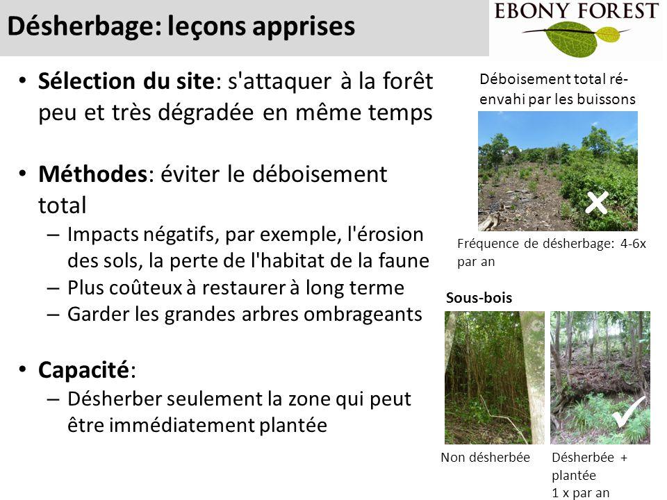 Désherbage: leçons apprises Techniques: – Garder les herbes qui ne sont pas en concurrence avec les plantes indigènes – Enlever de la forêt les morceaux coupés d espèces qui se régénèrent facilement, e.g.