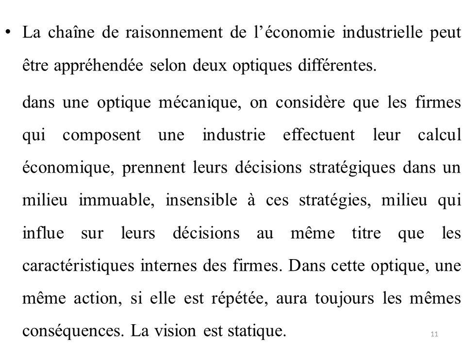 La chaîne de raisonnement de l'économie industrielle peut être appréhendée selon deux optiques différentes. dans une optique mécanique, on considère q