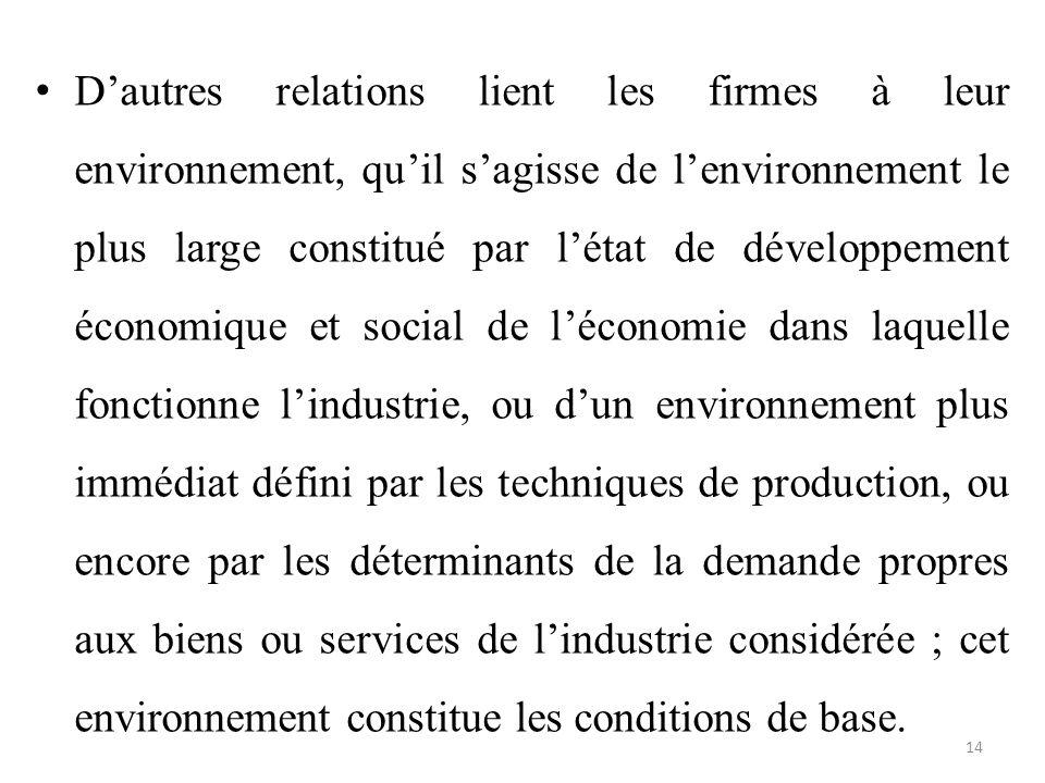 D'autres relations lient les firmes à leur environnement, qu'il s'agisse de l'environnement le plus large constitué par l'état de développement économ