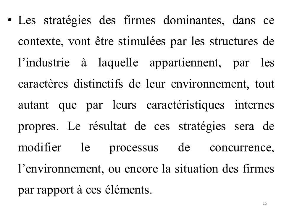 Les stratégies des firmes dominantes, dans ce contexte, vont être stimulées par les structures de l'industrie à laquelle appartiennent, par les caract
