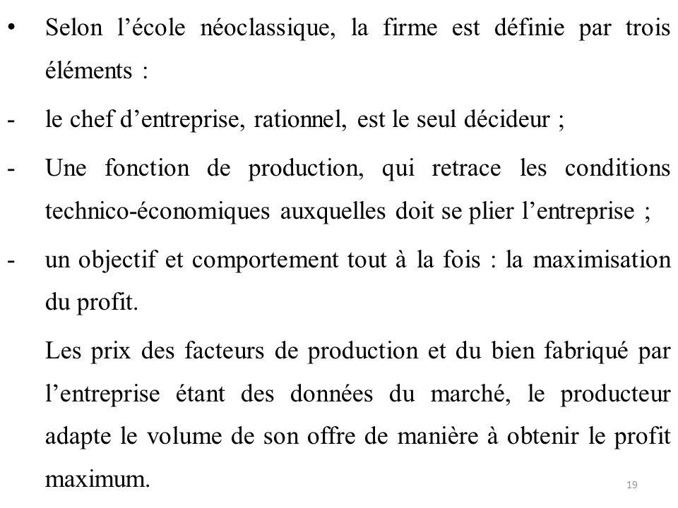 Selon l'école néoclassique, la firme est définie par trois éléments : -le chef d'entreprise, rationnel, est le seul décideur ; -Une fonction de produc