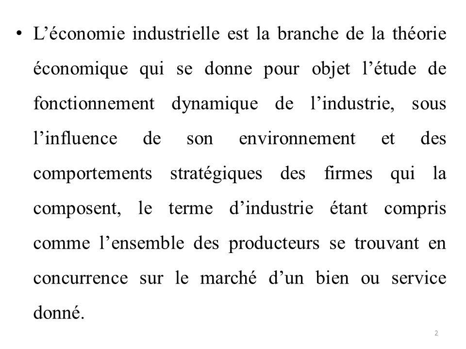 L'économie industrielle est la branche de la théorie économique qui se donne pour objet l'étude de fonctionnement dynamique de l'industrie, sous l'inf