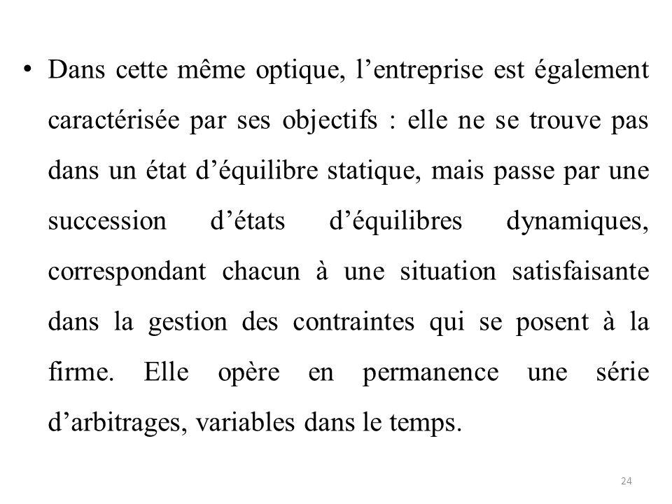 Dans cette même optique, l'entreprise est également caractérisée par ses objectifs : elle ne se trouve pas dans un état d'équilibre statique, mais pas