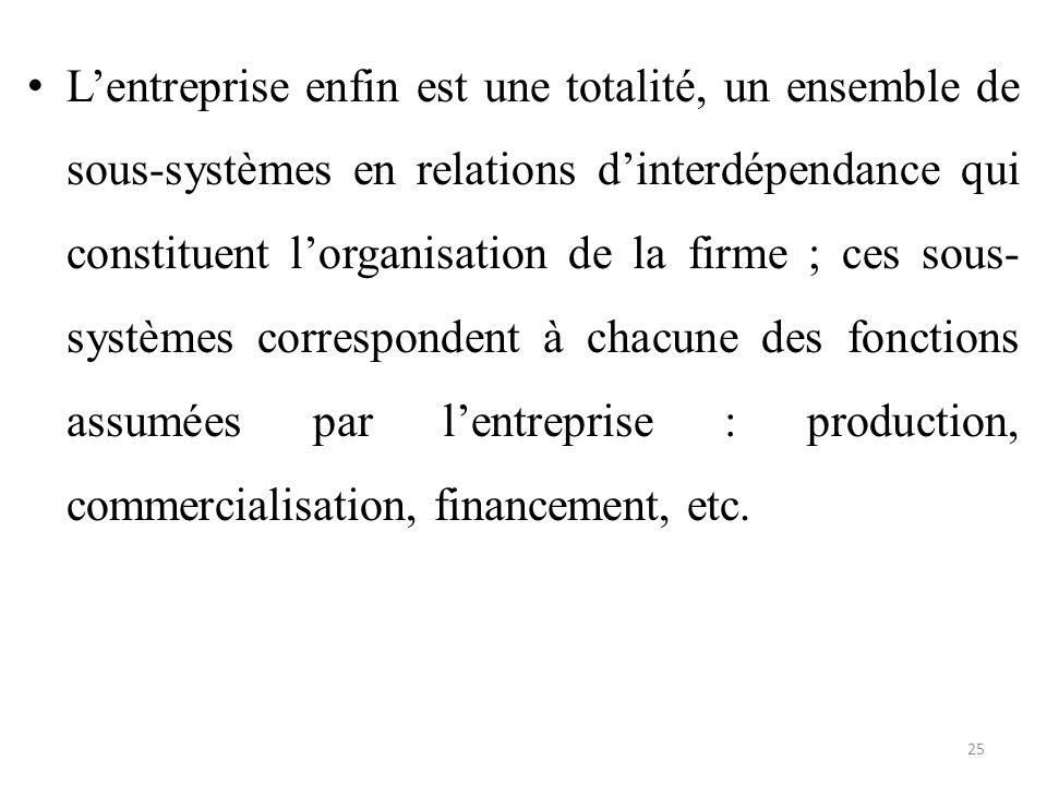 L'entreprise enfin est une totalité, un ensemble de sous-systèmes en relations d'interdépendance qui constituent l'organisation de la firme ; ces sous