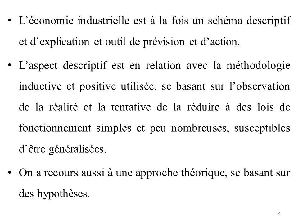 L'économie industrielle est à la fois un schéma descriptif et d'explication et outil de prévision et d'action. L'aspect descriptif est en relation ave