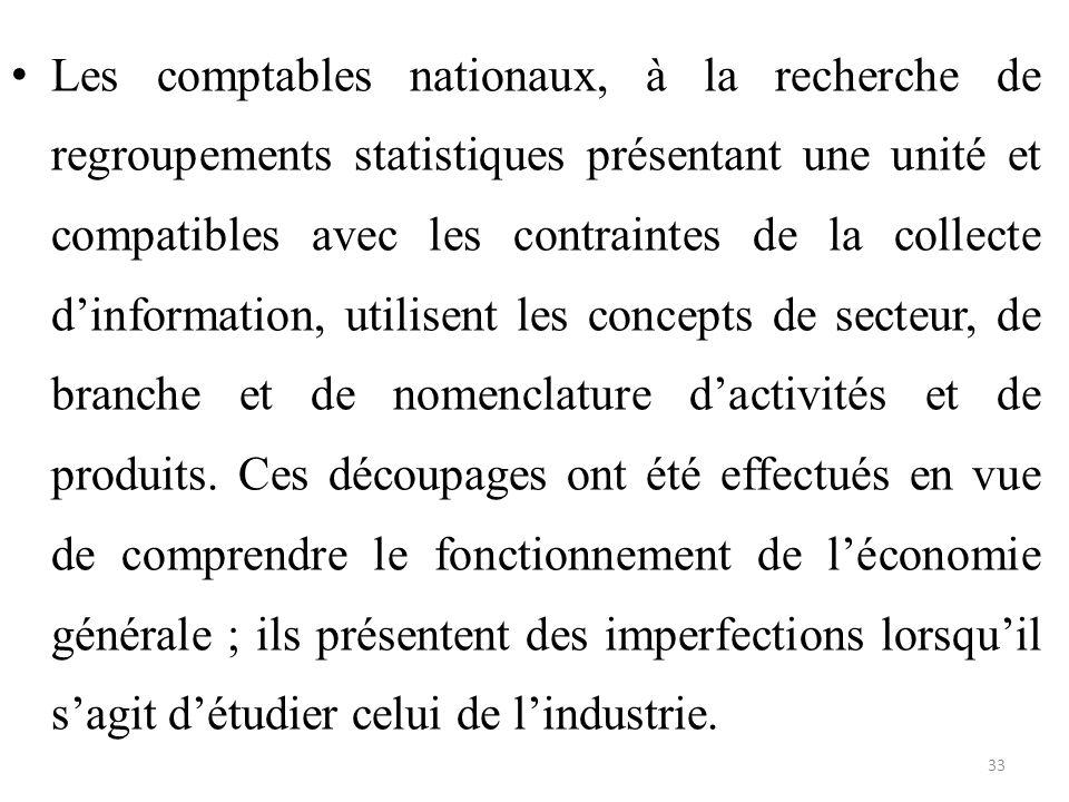 Les comptables nationaux, à la recherche de regroupements statistiques présentant une unité et compatibles avec les contraintes de la collecte d'infor