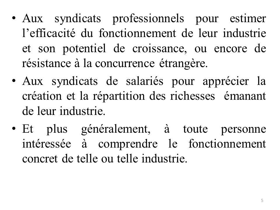 Aux syndicats professionnels pour estimer l'efficacité du fonctionnement de leur industrie et son potentiel de croissance, ou encore de résistance à l