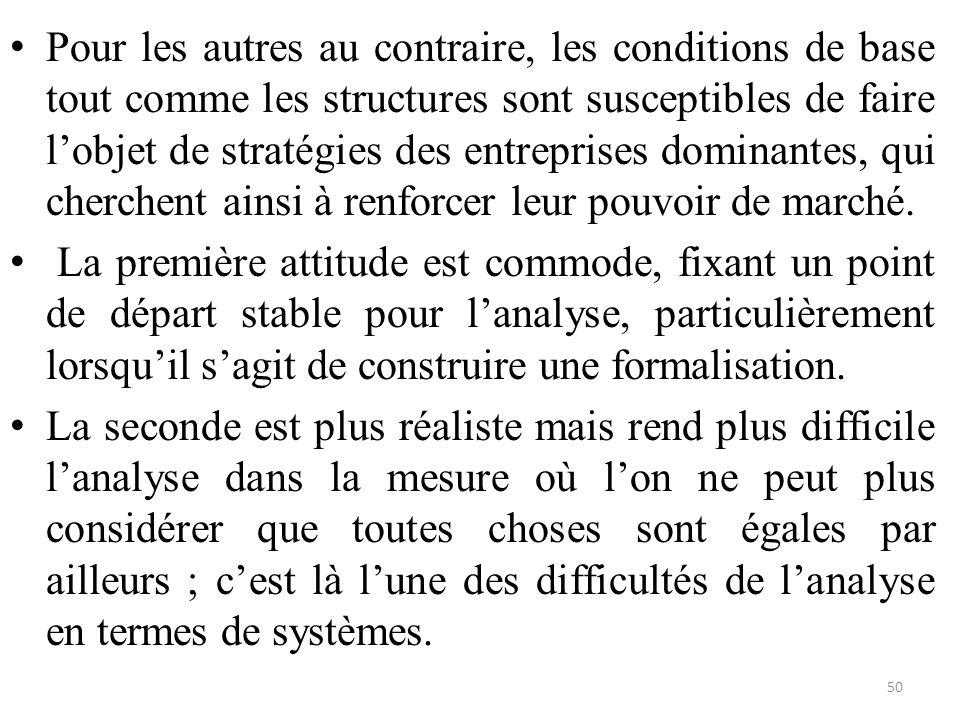 Pour les autres au contraire, les conditions de base tout comme les structures sont susceptibles de faire l'objet de stratégies des entreprises domina