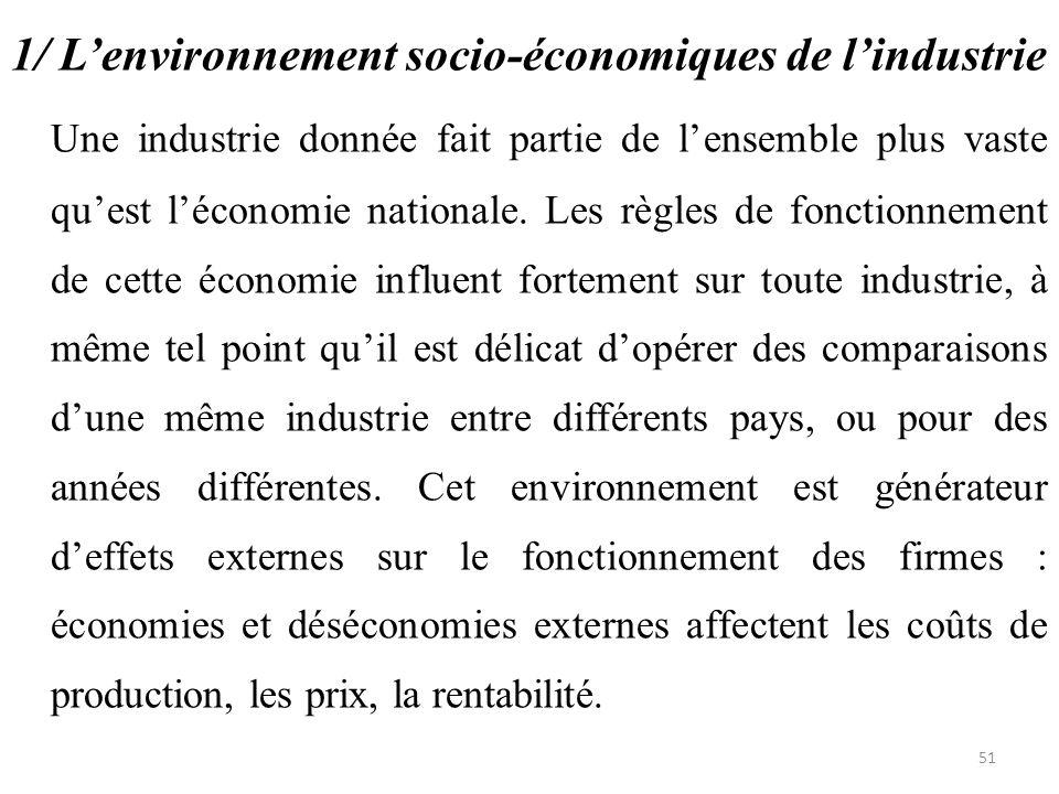 1/ L'environnement socio-économiques de l'industrie Une industrie donnée fait partie de l'ensemble plus vaste qu'est l'économie nationale. Les règles