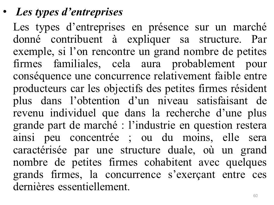 Les types d'entreprises Les types d'entreprises en présence sur un marché donné contribuent à expliquer sa structure. Par exemple, si l'on rencontre u