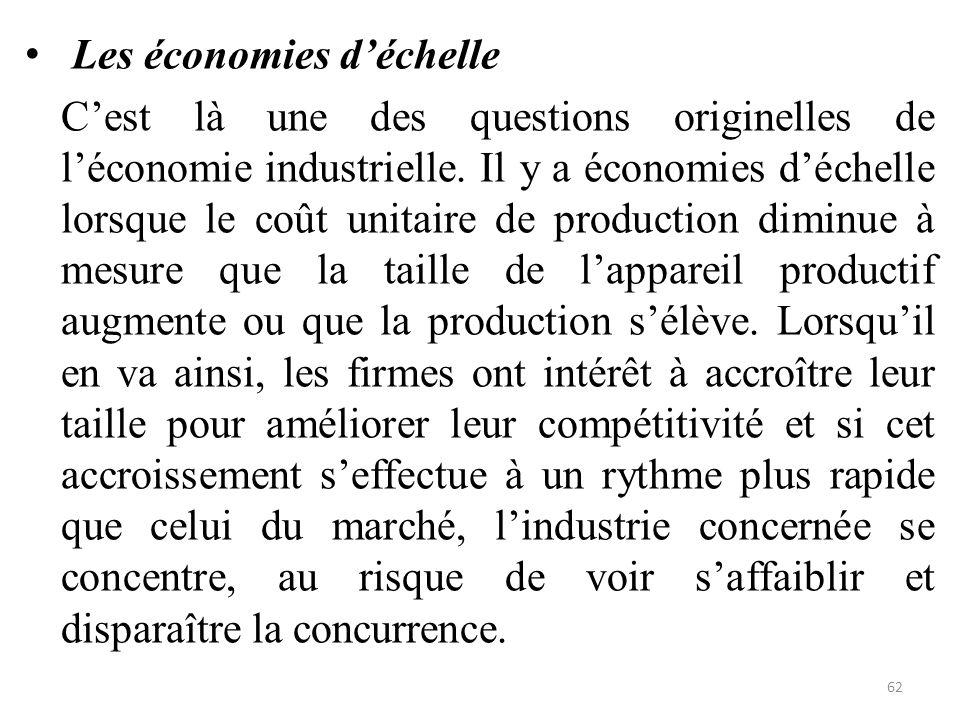 Les économies d'échelle C'est là une des questions originelles de l'économie industrielle. Il y a économies d'échelle lorsque le coût unitaire de prod