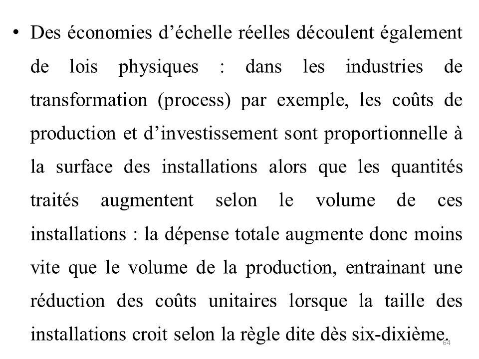 Des économies d'échelle réelles découlent également de lois physiques : dans les industries de transformation (process) par exemple, les coûts de prod