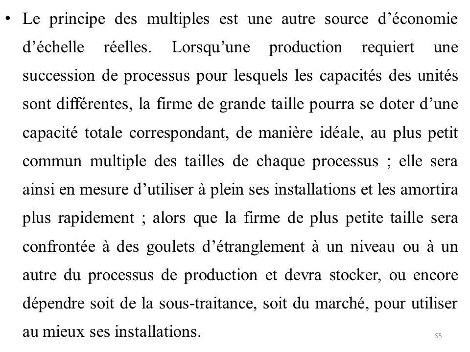 Le principe des multiples est une autre source d'économie d'échelle réelles. Lorsqu'une production requiert une succession de processus pour lesquels