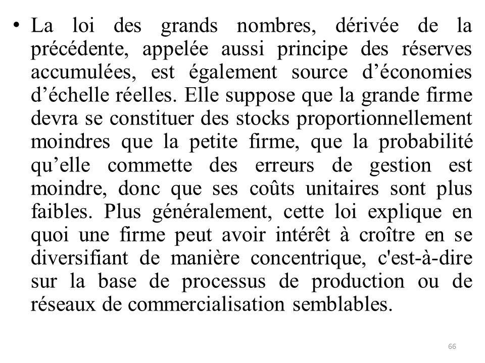 La loi des grands nombres, dérivée de la précédente, appelée aussi principe des réserves accumulées, est également source d'économies d'échelle réelle