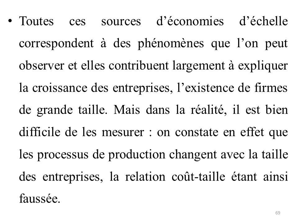 Toutes ces sources d'économies d'échelle correspondent à des phénomènes que l'on peut observer et elles contribuent largement à expliquer la croissanc