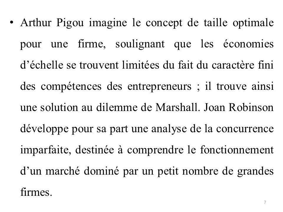Arthur Pigou imagine le concept de taille optimale pour une firme, soulignant que les économies d'échelle se trouvent limitées du fait du caractère fi