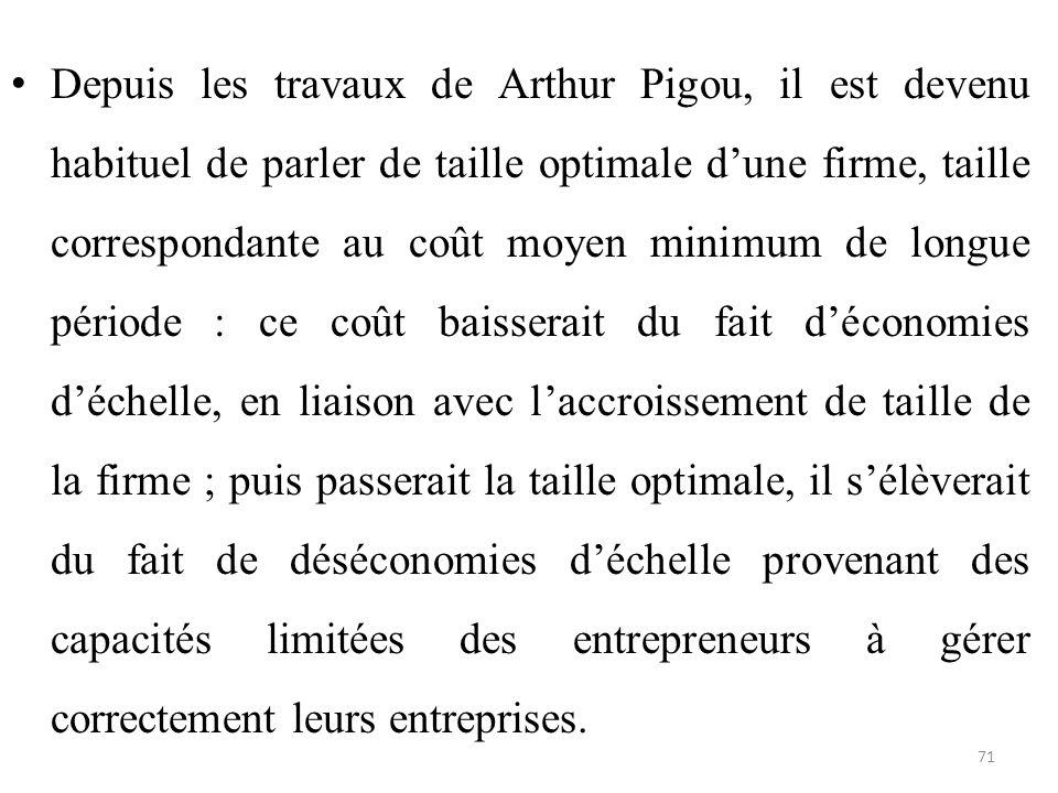 Depuis les travaux de Arthur Pigou, il est devenu habituel de parler de taille optimale d'une firme, taille correspondante au coût moyen minimum de lo