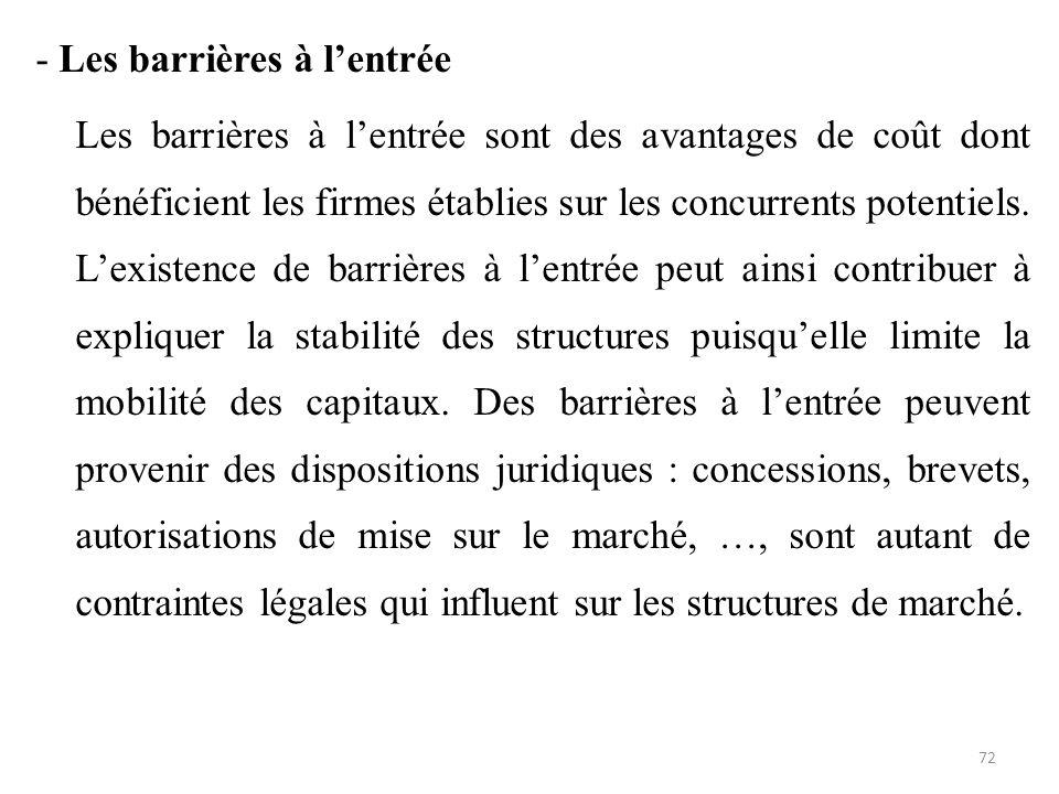 - Les barrières à l'entrée Les barrières à l'entrée sont des avantages de coût dont bénéficient les firmes établies sur les concurrents potentiels. L'