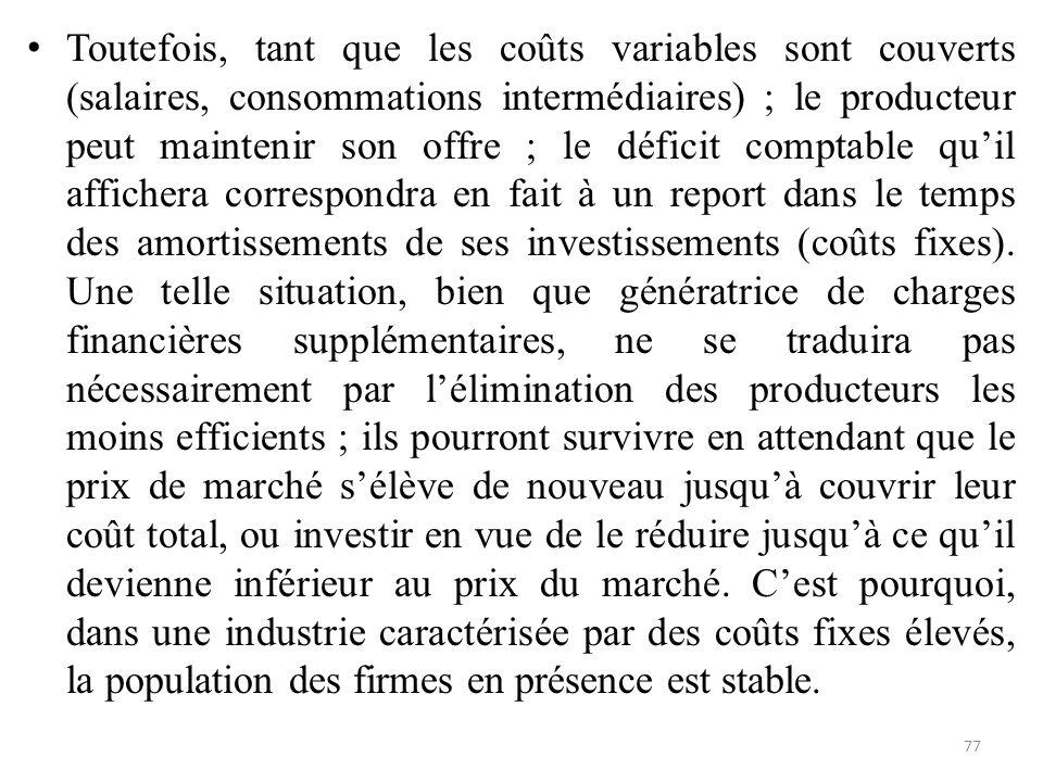 Toutefois, tant que les coûts variables sont couverts (salaires, consommations intermédiaires) ; le producteur peut maintenir son offre ; le déficit c