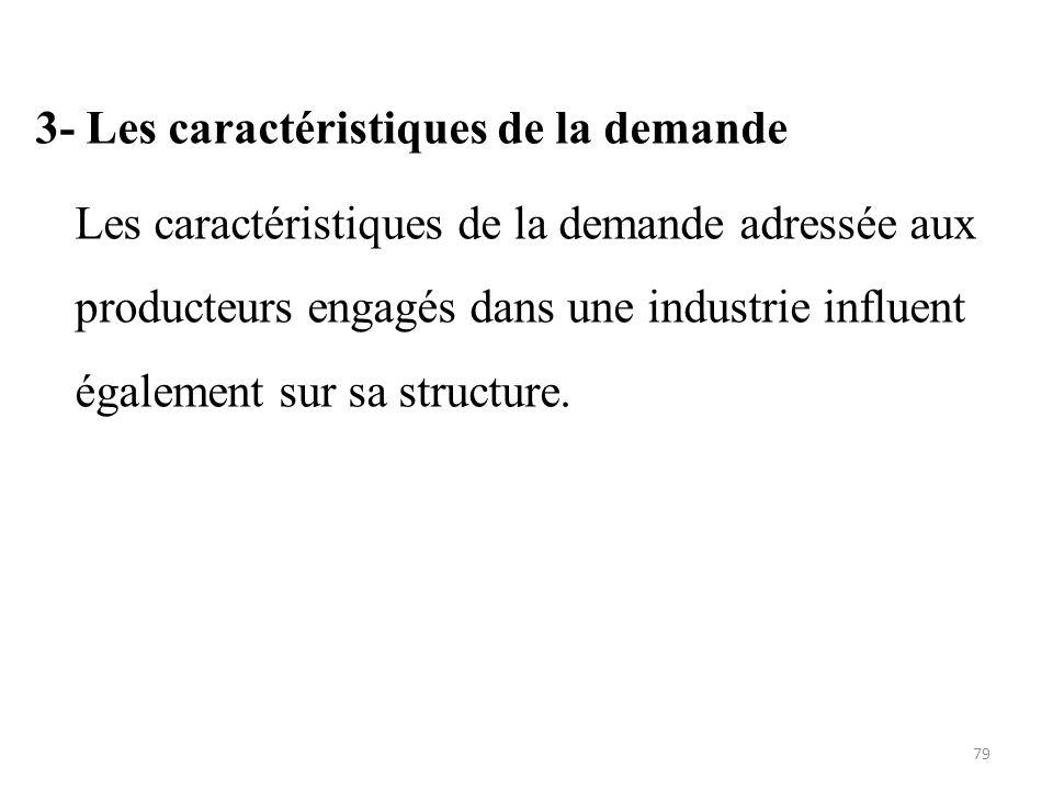 3- Les caractéristiques de la demande Les caractéristiques de la demande adressée aux producteurs engagés dans une industrie influent également sur sa