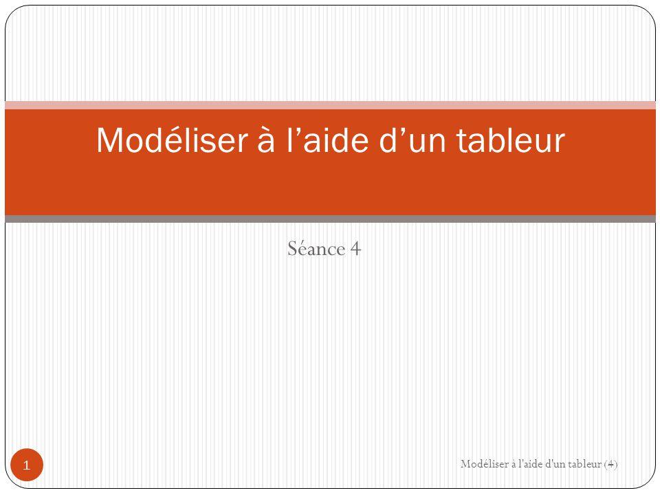 Séance 4 Modéliser à l'aide d'un tableur Modéliser à l aide d un tableur (4) 1