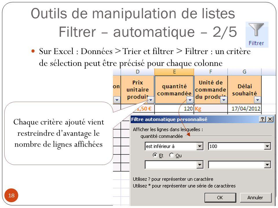 Outils de manipulation de listes Filtrer – automatique – 2/5 Sur Excel : Données > Trier et filtrer > Filtrer : un critère de sélection peut être précisé pour chaque colonne Modéliser à l aide d un tableur (4) 18 Chaque critère ajouté vient restreindre d'avantage le nombre de lignes affichées