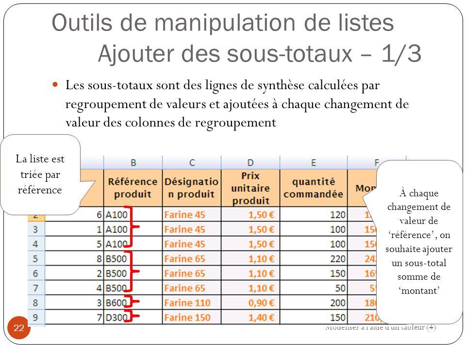 Outils de manipulation de listes Ajouter des sous-totaux – 1/3 Les sous-totaux sont des lignes de synthèse calculées par regroupement de valeurs et ajoutées à chaque changement de valeur des colonnes de regroupement Modéliser à l aide d un tableur (4) 22 La liste est triée par référence À chaque changement de valeur de 'référence', on souhaite ajouter un sous-total somme de 'montant'