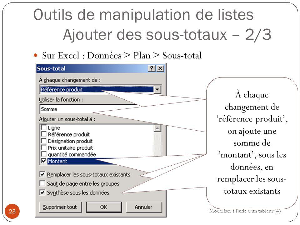 Outils de manipulation de listes Ajouter des sous-totaux – 2/3 Sur Excel : Données > Plan > Sous-total Modéliser à l aide d un tableur (4) 23 À chaque changement de référence, on ajoute une somme des montants, sous les données, en remplacer les sous- totaux existants À chaque changement de 'référence produit', on ajoute une somme de 'montant', sous les données, en remplacer les sous- totaux existants