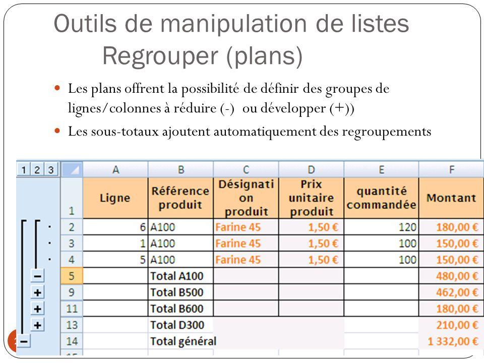 Outils de manipulation de listes Regrouper (plans) Les plans offrent la possibilité de définir des groupes de lignes/colonnes à réduire (-) ou développer (+)) Les sous-totaux ajoutent automatiquement des regroupements Modéliser à l aide d un tableur (4) 25