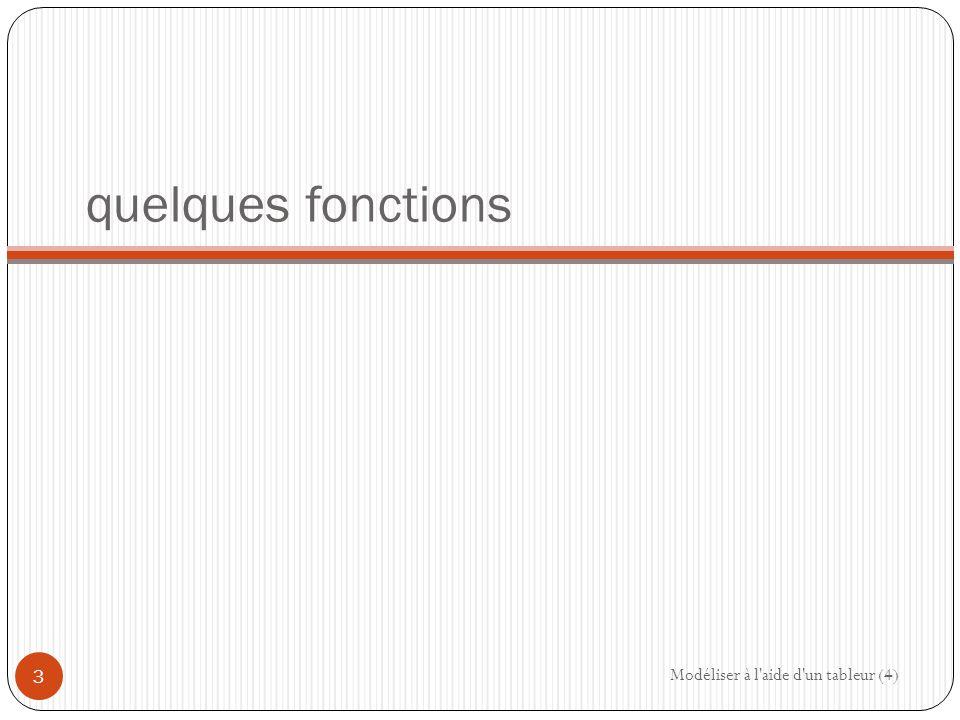 quelques fonctions Modéliser à l aide d un tableur (4) 3