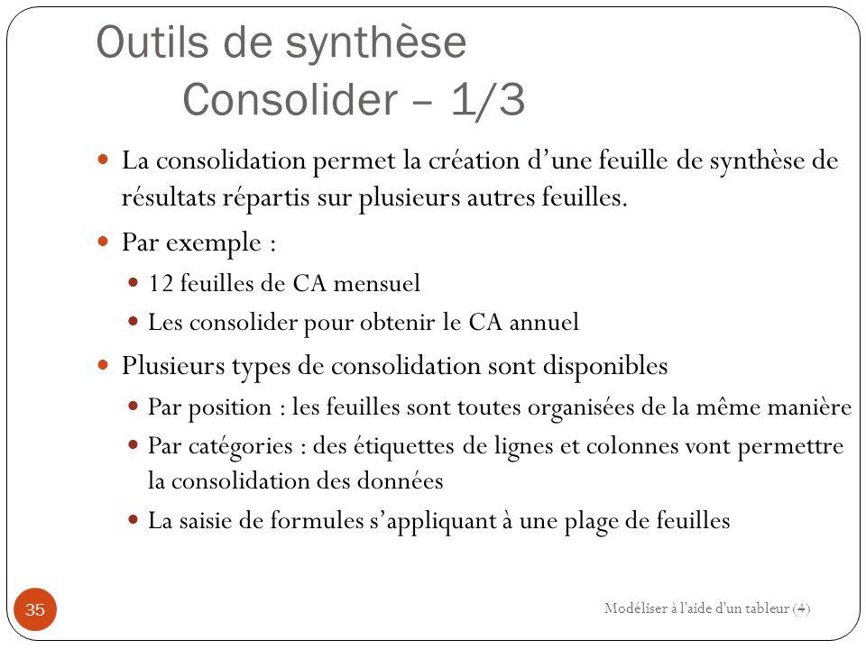 Outils de synthèse Consolider – 1/3 La consolidation permet la création d'une feuille de synthèse de résultats répartis sur plusieurs autres feuilles.