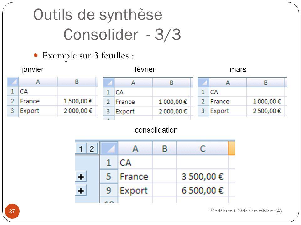Outils de synthèse Consolider - 3/3 Exemple sur 3 feuilles : Modéliser à l aide d un tableur (4) 37 janvierfévriermars consolidation