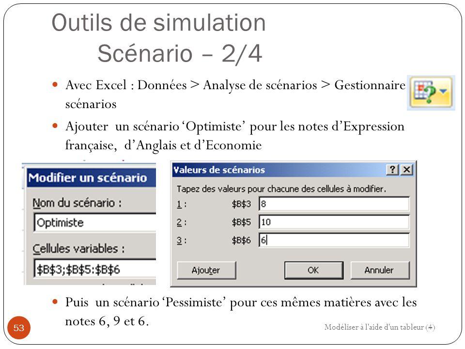 Outils de simulation Scénario – 2/4 Avec Excel : Données > Analyse de scénarios > Gestionnaire de scénarios Ajouter un scénario 'Optimiste' pour les notes d'Expression française, d'Anglais et d'Economie Puis un scénario 'Pessimiste' pour ces mêmes matières avec les notes 6, 9 et 6.