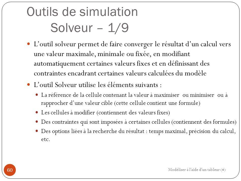 Outils de simulation Solveur – 1/9 L'outil solveur permet de faire converger le résultat d'un calcul vers une valeur maximale, minimale ou fixée, en modifiant automatiquement certaines valeurs fixes et en définissant des contraintes encadrant certaines valeurs calculées du modèle L'outil Solveur utilise les éléments suivants : La référence de la cellule contenant la valeur à maximiser ou minimiser ou à rapprocher d'une valeur cible (cette cellule contient une formule) Les cellules à modifier (contiennent des valeurs fixes) Des contraintes qui sont imposées à certaines cellules (contiennent des formules) Des options liées à la recherche du résultat : temps maximal, précision du calcul, etc.
